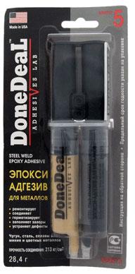 Клей DONE DEAL адгезив-эпокси для металлов 5мин 28,4гр