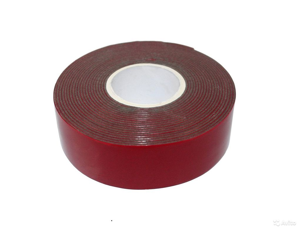 Скотч двухсторонний 20х5мм красный