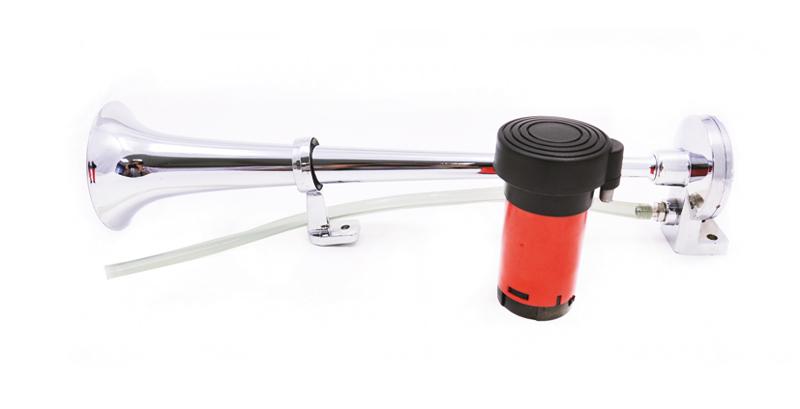 Сигнал звуковой воздушный 1-х рожковый с компрессором красный