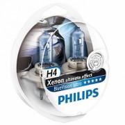 Лампа PHILIPS Н4-12V 60/55W+30% Blue Vision ultra 2 шт Н4+ 2 шт W5W